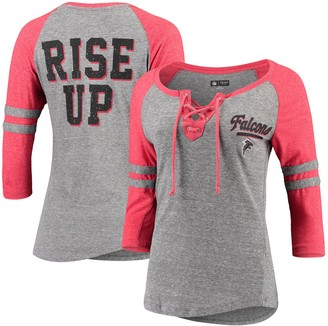 New Era Women's Heathered Gray/Heathered Red Atlanta Falcons Lace-Up Tri-Blend Raglan 3/4-Sleeve T-Shirt