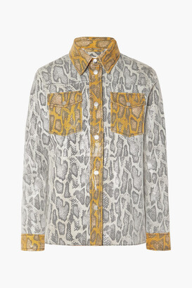 Stand Studio Mazal Paneled Snake-effect Leather Shirt