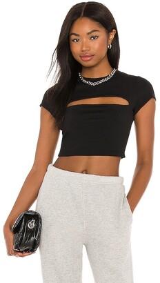 Susana Monaco Slash Front Short Sleeve Crop Top
