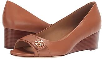 Tory Burch 45 mm Kira Open Toe Wedge (Tan/Tan) Women's Shoes