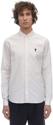 Ami Alexandre Mattiussi STRIPED LOGO PATCH COTTON OXFORD SHIRT