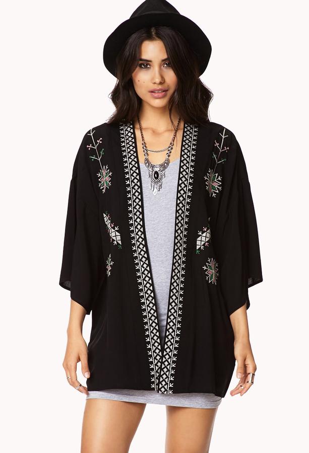 Forever 21 Desert Cool Embroidered Kimono