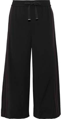 Vince Cropped Grosgrain-trimmed Crepe Wide-leg Pants