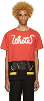 Off-White Red 'White' Patchwork T-Shirt