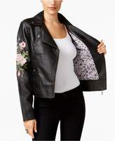 Joujou Jou Jou Juniors' Embroidered Faux-Leather Jacket
