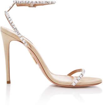 Aquazzura Very Vera Crystal-Embellished Suede Sandals