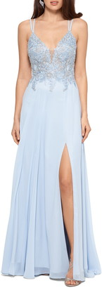 Xscape Evenings Applique Bodice Strappy Chiffon Gown