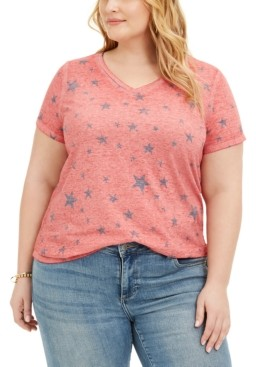 Style&Co. Style & Co Plus Size Printed Burnout T-Shirt, Created for Macy's
