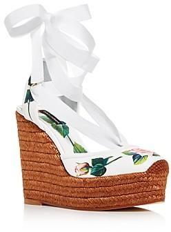 Dolce & Gabbana Women's 100 Floral Espadrille Ankle-Tie Wedge Sandals