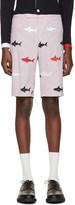 Thom Browne Tricolor Classic Striped Shark Backstrap Shorts