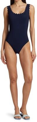 Karla Colletto Swim Ines Scallop-Neck One-Piece Swimsuit