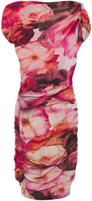 MSGM Layered Ruched Floral-print Stretch-mesh Mini Dress