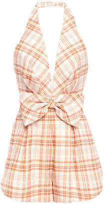 Zimmermann Bow-embellished Checked Linen Halterneck Playsuit