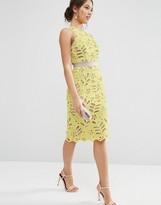 Asos Premium Lace Midi Pencil Dress With Contrast Seams