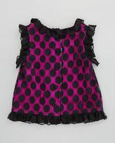 Milly Minis Chloe Polka-Dot Top, Black/Pink