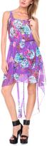 Stanzino Purple Floral Sheer Hi-Low Dress