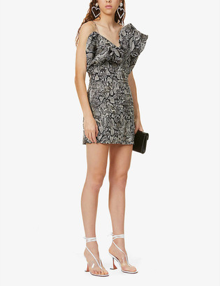 Magda Butrym Ruffled snake-print silk mini dress