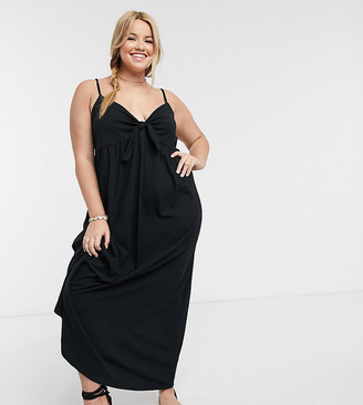 ASOS DESIGN Curve cami bow front maxi sundress in black