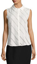 Tommy Hilfiger Sleeveless Striped Casual Button-Down Shirt