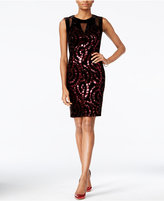 Jax Sequined Velvet Illusion Sheath Dress