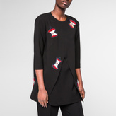 Paul Smith Women's Black Tunic-Top With 'Apple' Embellishments