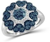 Ice 1 CT TDW Blue and White Diamond Sterling Silver Flower Themed Ring by JewelonFire