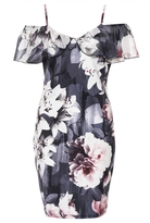 Quiz Grey and Pink Floral Frill Detail Bodycon Dress