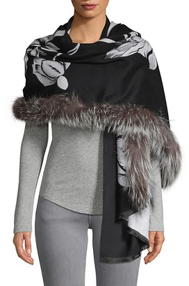 Belle Fare Floral Fox Fur-Trim Cashmere-Blend Shawl