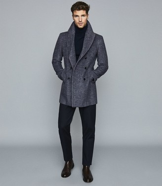 Reiss Duomo - Herringbone Double Breasted Peacoat in Navy