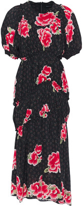 Simone Rocha Gathered Floral-print Silk Crepe De Chine Midi Dress