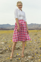 Shabby Apple Lucy Taffeta Plaid Midi Skirt Pink