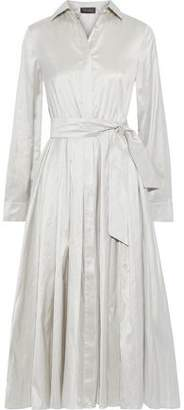 Max Mara Novara Belted Silk-shantung Midi Shirt Dress