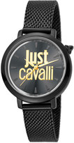 Just Cavalli 34mm Logo Stainless Steel Bracelet Watch, Black