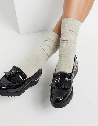 New Look chunky loafer in patent black