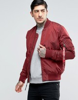 Alpha Industries MA-1 Bomber Jacket Slim Fit In Burgundy