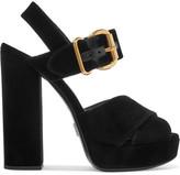 Prada Velvet Platform Sandals - Black