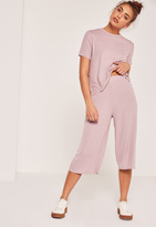 Missguided Pink Petite Ribbed Culottes