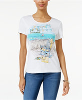Karen Scott Petite Beach Graphic T-Shirt, Only at Macy's