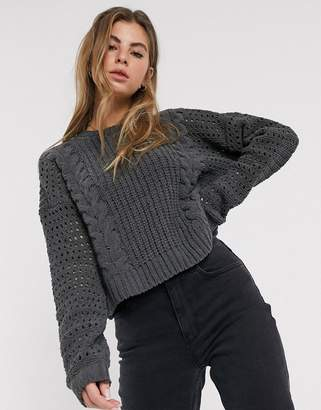 Hollister open stitch cable chenille jumper