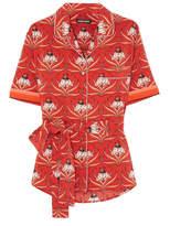 Markus Lupfer Bobbie Floral-print Silk-crepe Shirt - Red