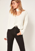 Missguided White Choker Neck Chunky Cropped Sweater