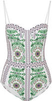 Tory Burch Garden Party Printed Underwired Swimsuit - White