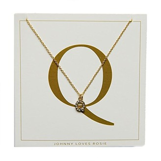 Johnny Loves Rosie Women Gold Plated Glass Chain Necklace of Length 48cm Q Initial Gift Card