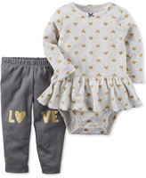 Carter's 2-Pc. Cotton Heart-Print Bodysuit and Love Pants Set, Baby Girls (0-24 months)