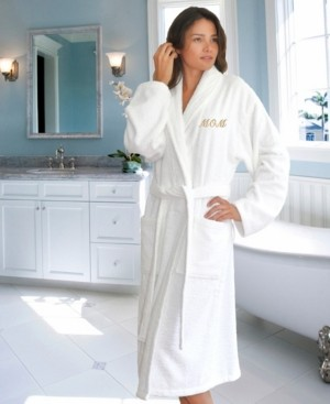 "Linum Home Terry Bathrobe Embroidered with ""Mom"" Bedding"