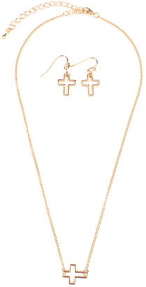 Riah Fashion Delicate Small-Cross-Line Necklace-Set