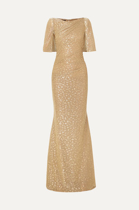 Talbot Runhof Cape-effect Draped Metallic Fil Coupé Voile Gown - Gold