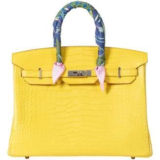 Hermes Birkin 35 Yellow Crocodile Handbags