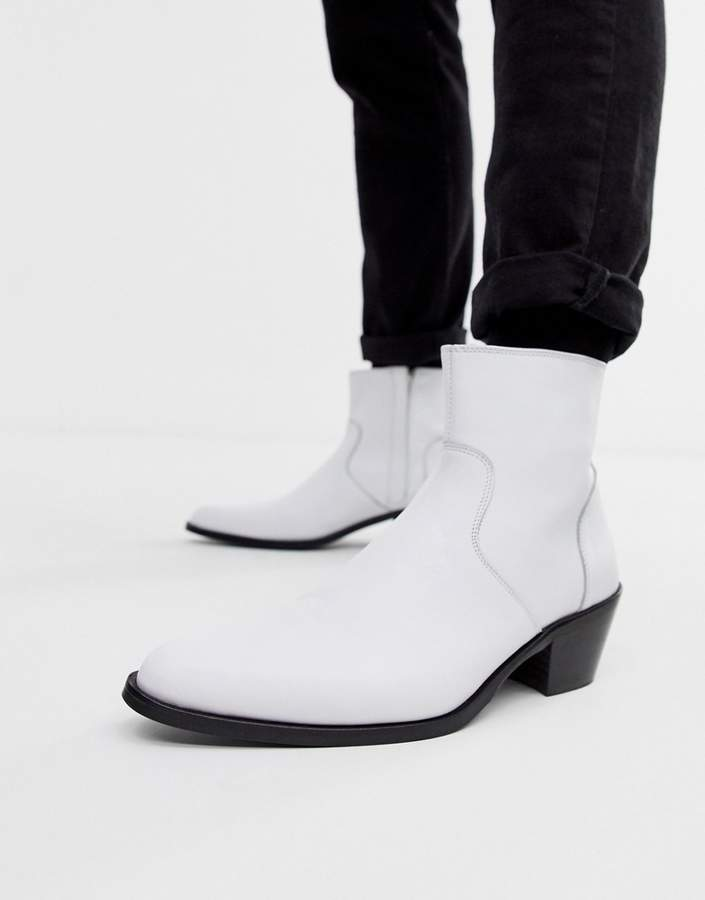 40c59a52079 Design DESIGN stacked heel western chelsea boots in white leather