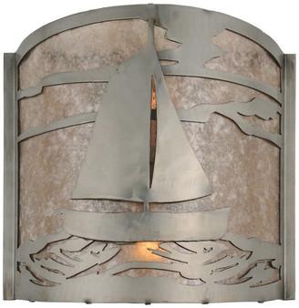 "Mica Meyda Lighting 12""W Sailboat Wall Sconce, Steel/Silver"